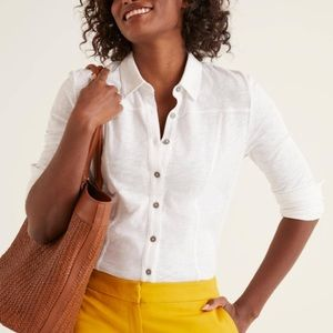 Boden 12 white jersey knit button down shirt